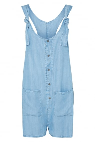 Noisy May Pale Blue Denim Button Front Playsuit