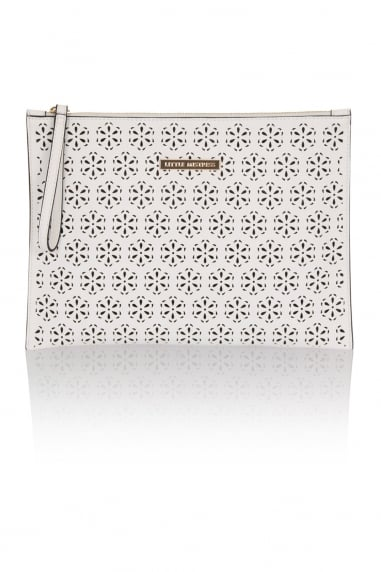 White Cut Out PU Flat Clutch Bag