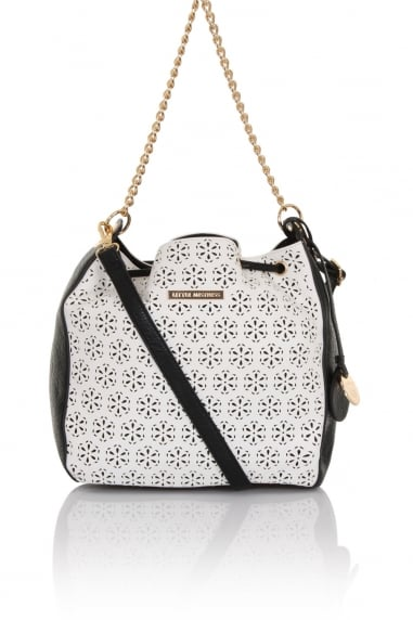 Mono Cut Out PU Duffle Bag With Chain Handle