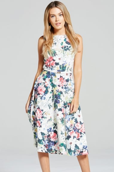 Multi Floral Print Fit and Flare Dress