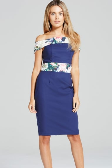 Navy and Floral Print Bardot Dress