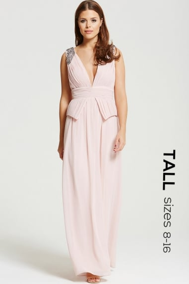 Blush Plunge Peplum Maxi Dress