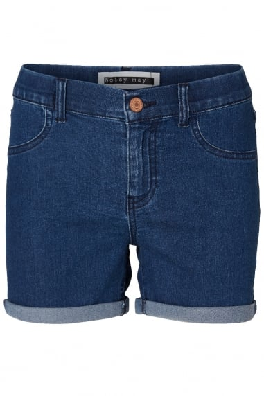 Noisy May Dark Blue Fold Up Denim Shorts