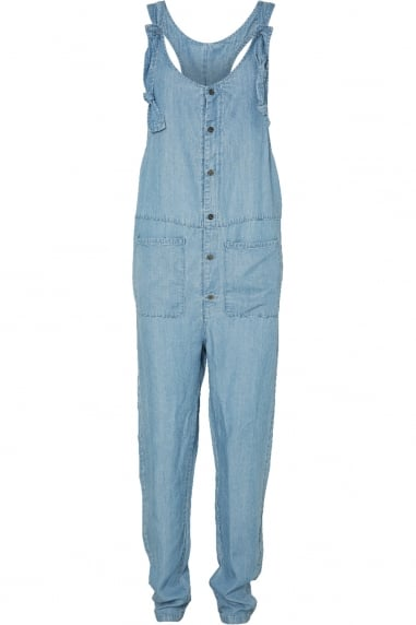 Noisy May Pale Denim Blue Button Front Jumpsuit