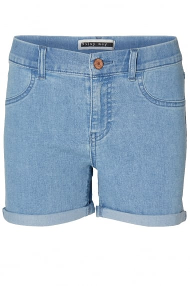 Noisy May Light Blue Fold Up Denim Shorts