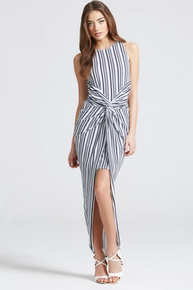 Stripe Knot Front Bodycon Dress