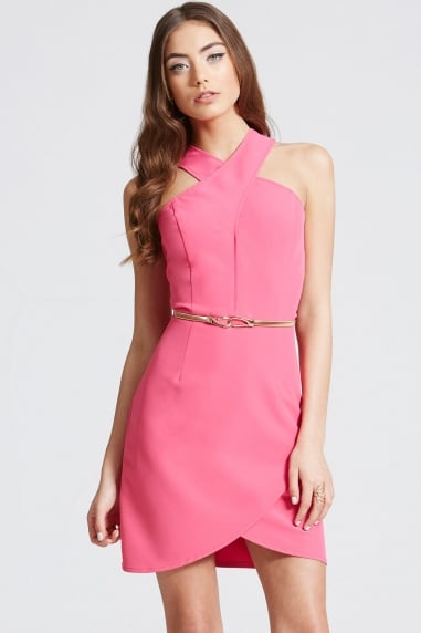 Pink Crossover Strap Dress