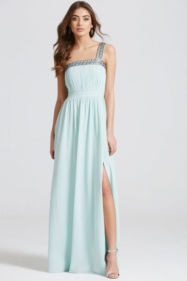 Mint Embellished Trim Maxi Dress