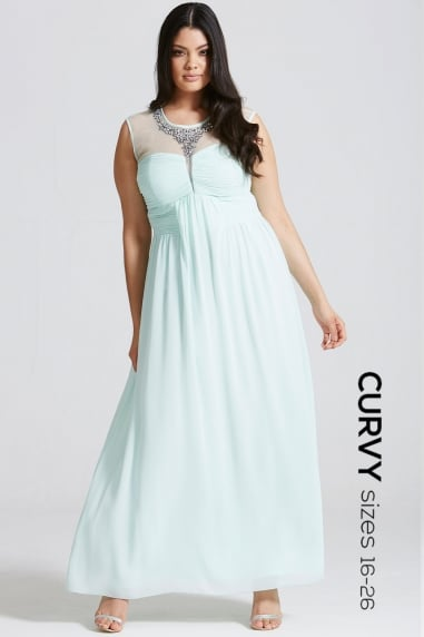 Seafoam Embellished and Drape Front Maxi Dress