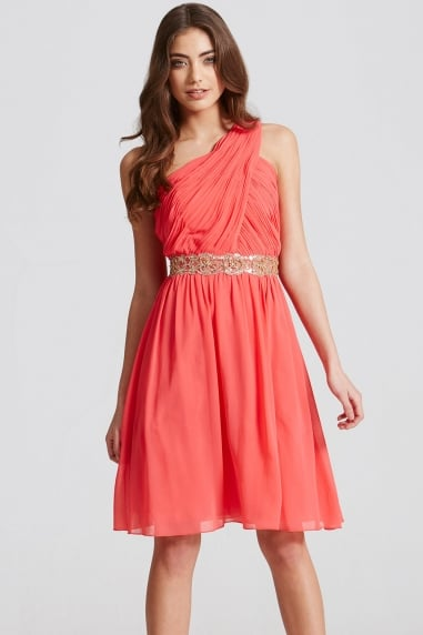 Coral Embellished Waist Mini Dress