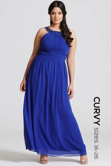 Blue Embellished Empire Maxi dress