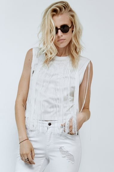 Noisy May White Fringe Sleeveless Top
