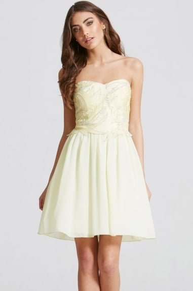 Lemon Embroidered Fit and Flare Dress