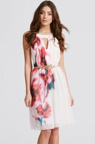 Blur Print Chiffon Prom Dress