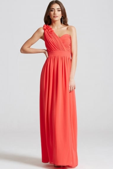 Coral Corsage Pleated Maxi Dress