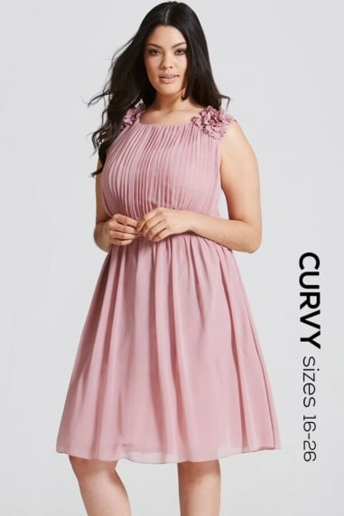 Dusty Pink Floral Applique Prom Dress