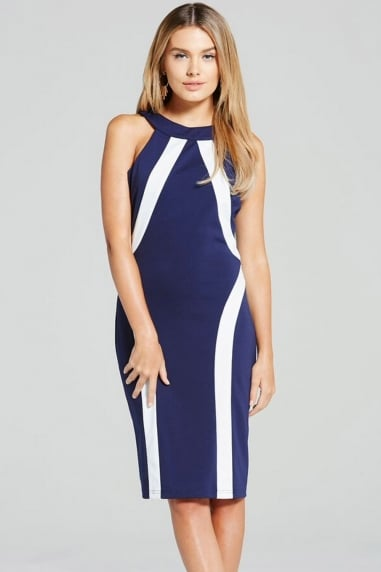 Navy and Cream Illusion Bodycon Dress