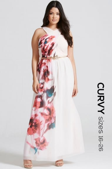 Blur Print Crossover Front Maxi dress