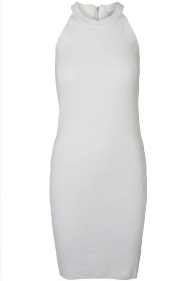 Noisy May White Zip Knit Bodycon Dress