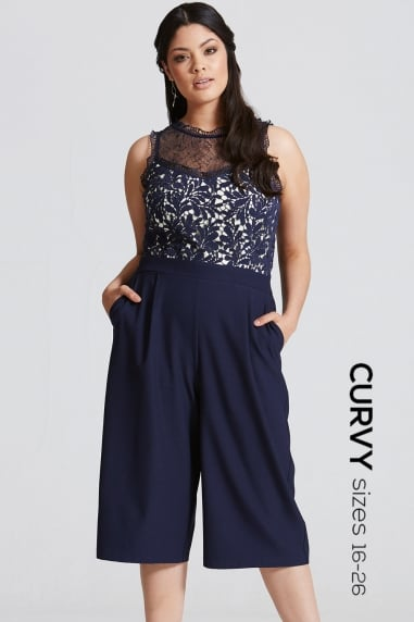 Navy Crochet and Lace Culotte Jumpsuit