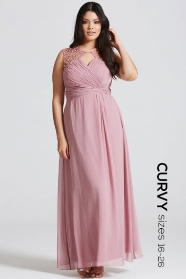 Dusty Pink Embellished Shoulder and Drape Front Maxi Dress