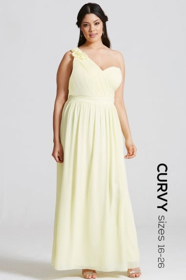 Yellow Corsage Pleated Maxi Dress