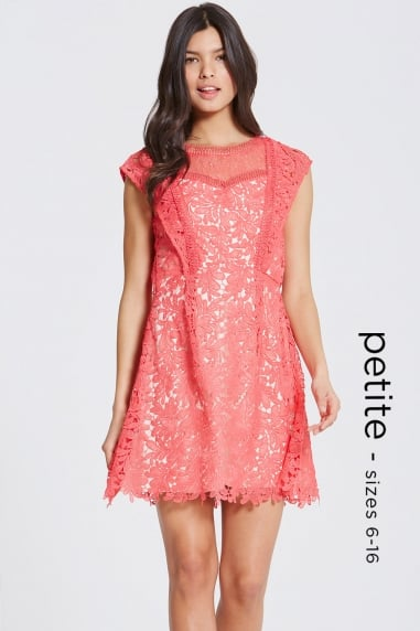 Coral Crochet and Lace Mini Dress