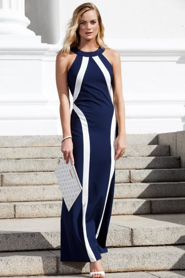 Navy and Cream Illusion Maxi Dress