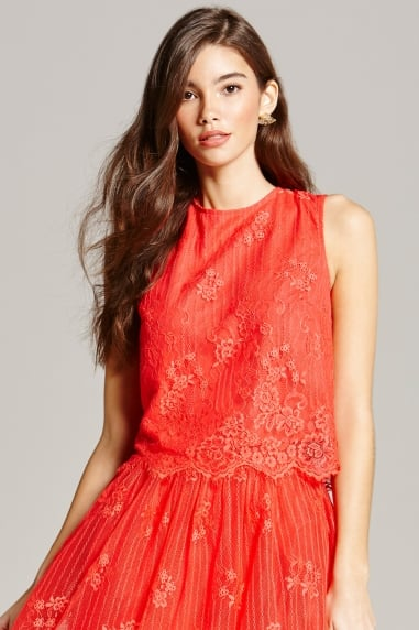 Papaya Lace Scallop Hem Top