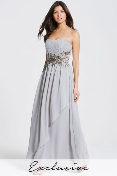 Grey Decorative Waist Bandeau Maxi Dress