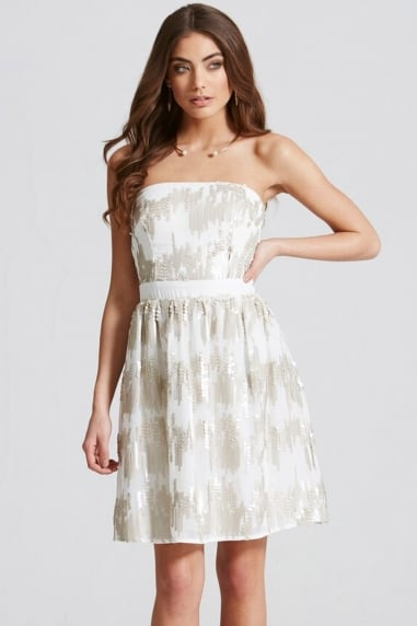 Cream Sequin Bandeau Fit and Flare Dress