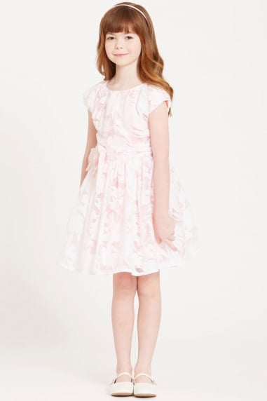 Pink Organza Bow Waist Dress