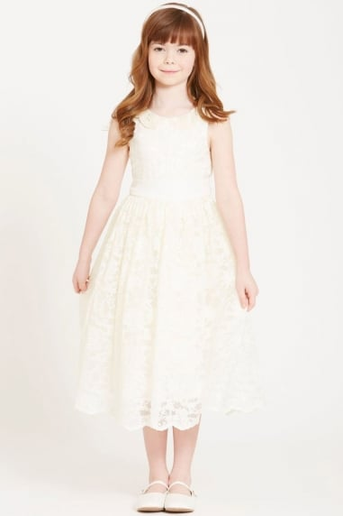 Cream Lace and Pearl Collar Dress