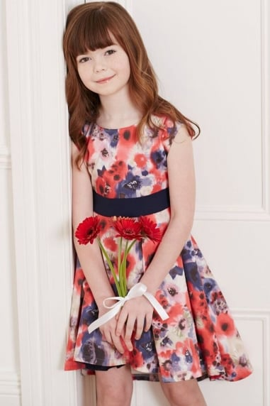 Poppy Print Bow Waist Dress