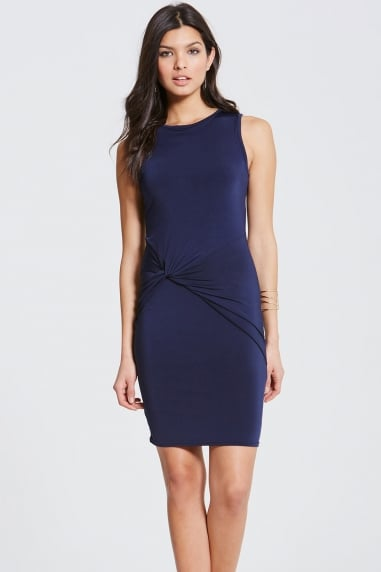 Girls On Film Navy Slinky Midi Dress
