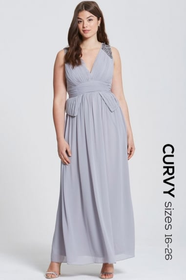 Grey Plunge Peplum Maxi Dress