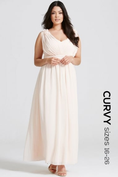 Nude Corsage Plunge Maxi Dress