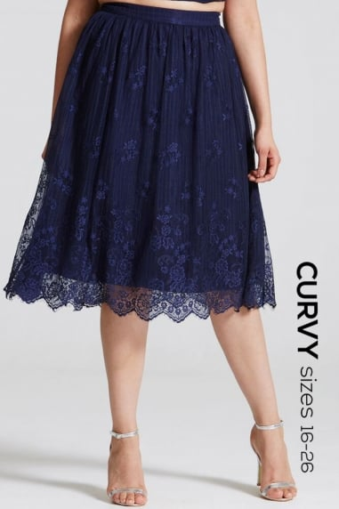 Navy Lace Scallop Hem Skirt