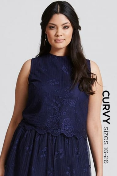 Navy Lace Scallop Hem Top