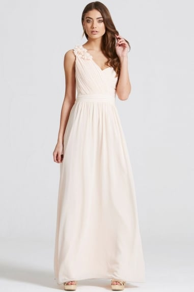 Nude Corsage Pleated Maxi Dress
