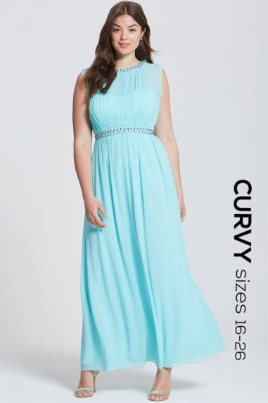 Seafoam Embellished Keyhole Back Maxi Dress