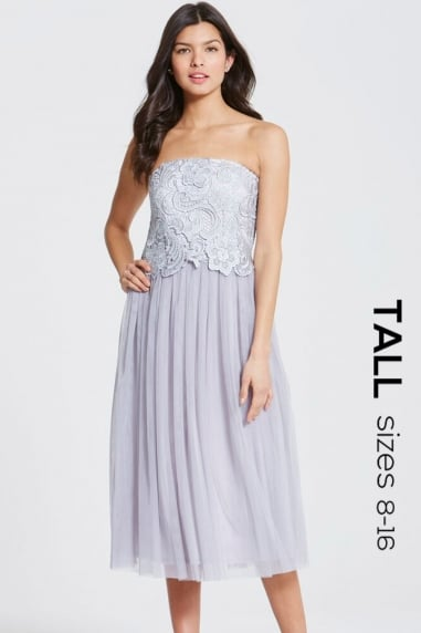 Grey Lace Overlay Bandeau Midi Dress