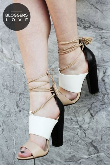 Nixie Tan and White Sandals with Tassels