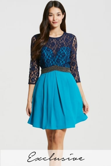 Navy and Turquoise Lace Mini Dress