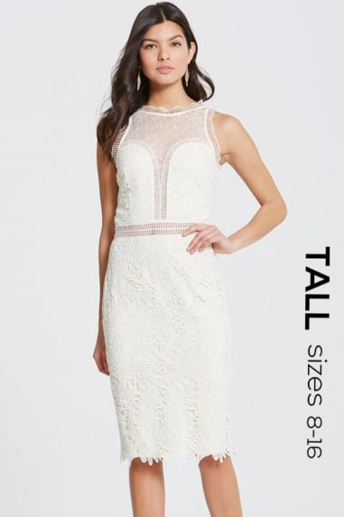 Cream Crochet and Lace Bodycon Dress