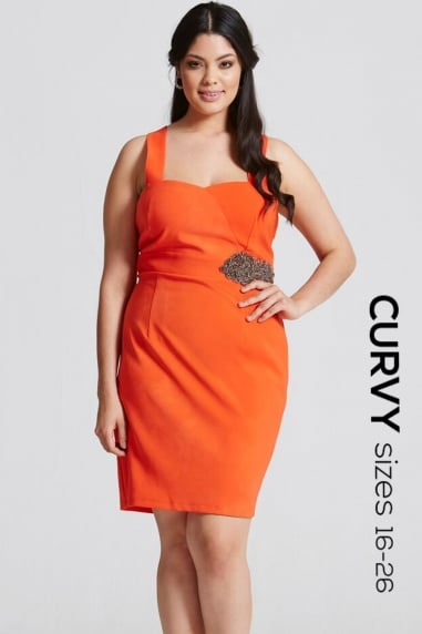 Orange Sweetheart Neck Bodycon Dress