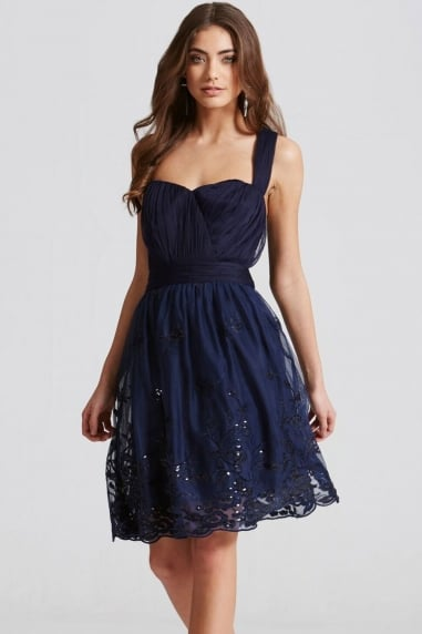 Navy Embroidery Mesh Prom Dress
