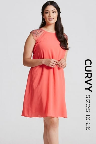 Coral Embellished Open Back Shift Dress