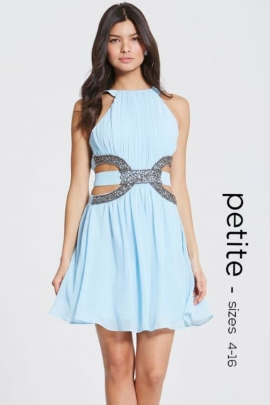 Pale Blue Cut Out Prom Dress