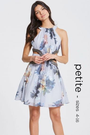 Floral Print Cut Out Prom Dress